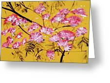 Pink Mimosa Tree Dark Yellow 201642 Greeting Card