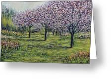 Pink Orchards Garden Greeting Card
