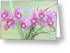 Pink Orchid Photo Sketch Greeting Card