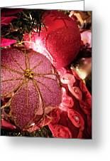 Pink Ornaments Holiday Card Greeting Card