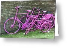 Pink Painted Bikes And Old Wall Greeting Card