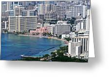 Pink Palace Waikiki Honolulu Greeting Card