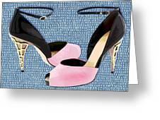 Pink Patent Leather With Sculpted Metal Heels Greeting Card
