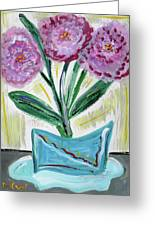 Pink Peonies-gray Table Greeting Card