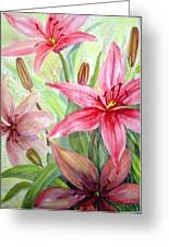 Pink Pixie Lilies Greeting Card