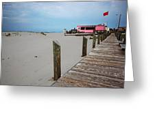 Pink Pony And Boardwalk Greeting Card
