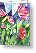 Pink Poppies Batik Style Greeting Card