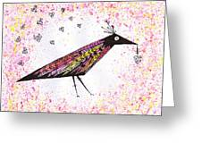 Pink Raven With Heart Greeting Card