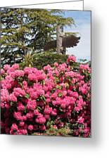 Pink Rhododendrons With Totem Pole Greeting Card