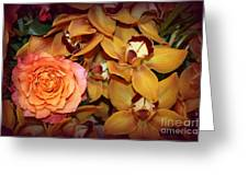 Pink Rose And Yellow Orchids Greeting Card