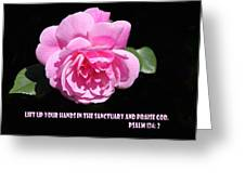 Pink Rose Psalm 134 Vs 2 Greeting Card