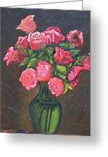 Pink Roses And Vase Greeting Card