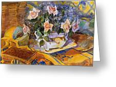 Pink Roses In Gaye's Dish Greeting Card