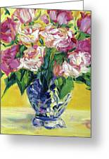 Pink Roses In Blue Deft Vase Greeting Card