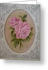Pink Roses Oval Framed Greeting Card