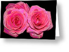 Pink Roses With Enameled Effects Greeting Card