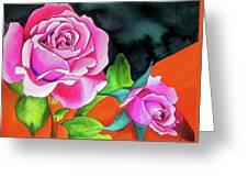 Pink Roses With Orange Greeting Card