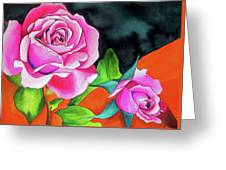 Pink Roses With Orange Greeting Card