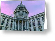 Pink Sky On The Square Greeting Card