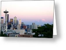 Pink Sky Over Mount Rainier Greeting Card