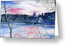 Pink Sky Reflections Greeting Card