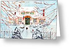 Pink Snow House Greeting Card