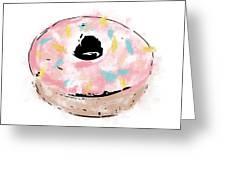 Pink Sprinkle Donut- Art By Linda Woods Greeting Card by Linda Woods