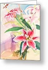 Pink Stargazer Lilies Greeting Card