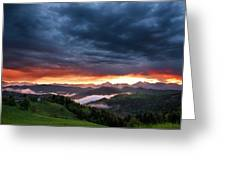 Pink Sunrise And Blue Clouds In The Mountains Of Kamnik Savinja  Greeting Card