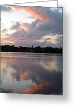 Pink Sunrise With Dramatic Clouds And Steeple On Jamaica Pond Greeting Card