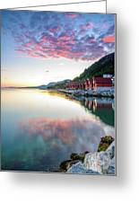 Pink Sunset Over A Lagoon In Norway Greeting Card