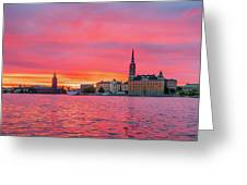 Pink Sunset Over Stockholm Greeting Card