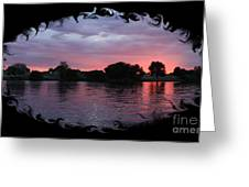 Pink Sunset Panorama With Black Framing Greeting Card
