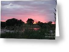 Pink Sunset With Green Riverbank Greeting Card