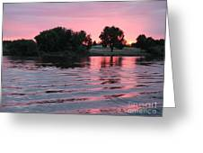 Pink Sunset With Soft Waves Greeting Card