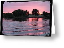 Pink Sunset With Soft Waves In Black Framing Greeting Card