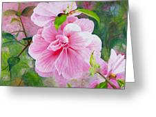 Pink Swirl Garden Greeting Card by Shelley Irish