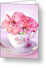 Pink Teacup Bouquet Greeting Card