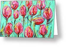 Pink Tulip, Turquoise Greeting Card