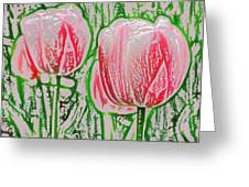 Pink Tulips With Block Effect Greeting Card