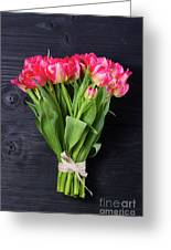Pink Tulips On Black Greeting Card