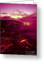 Pink Volcano Sunrise Greeting Card