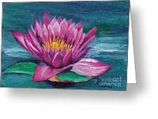 Pink Water Lily Original Painting Greeting Card