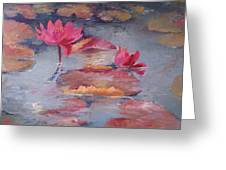 Pink Waterlilies Greeting Card