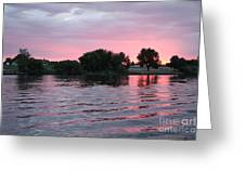 Pink Waves Sunset Greeting Card