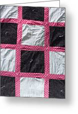 Pink White And Black Dot Quilt Greeting Card by Brianna Emily Thompson