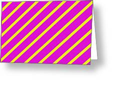 Pink Yellow Angled Stripes Greeting Card