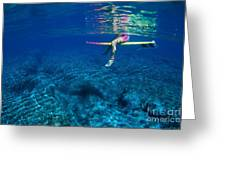 Pink & Yellow Surfboard Greeting Card