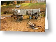 Pioneer Wagon And Broken Wheel Greeting Card