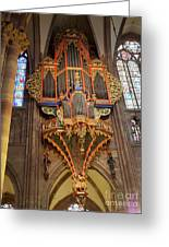 Pipe Organ In Strasbourg Cathedral Greeting Card